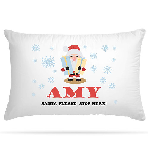 Personalised Pillowcase Kids Christmas Santa Theme 6 Design