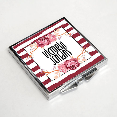 Personalised Compact Rectangle Mirror Stripes Flower 3 Colour Option