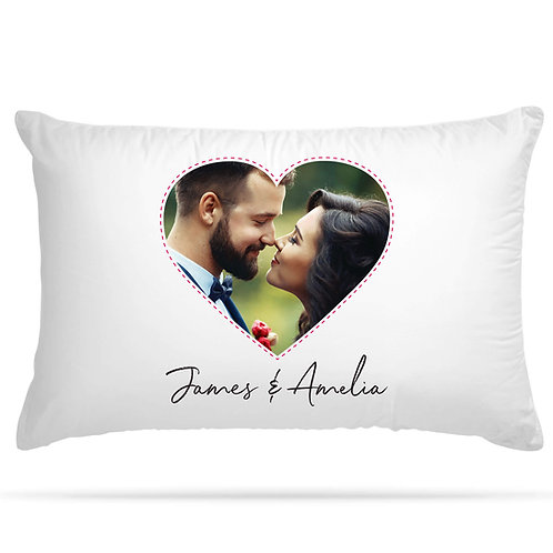 Personalised Pillowcase Heart Shape Photo Print