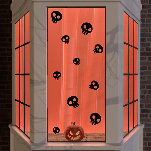 Halloween Window Stickers Decoration Wall Spooky Decal Party Black Skulls x 10