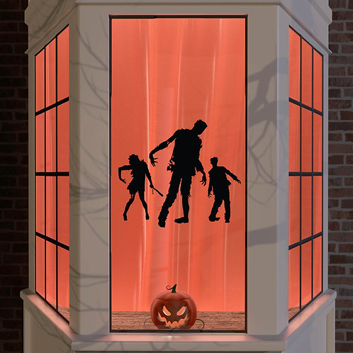 Halloween Window Stickers Decoration Wall Spooky Decal Party Black 3x Zombies