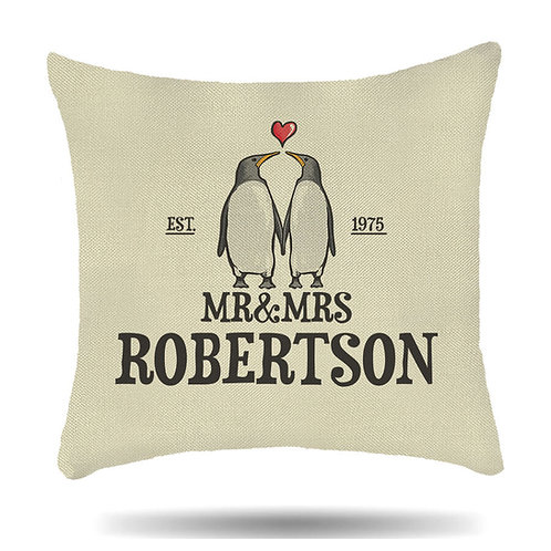 Personalised Linen Cushion Cover for Couples Mr & Mrs Penguin Love
