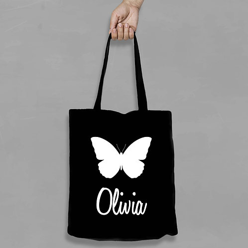 Personalised Shopping canvas Tote Bag Butterfly with Name