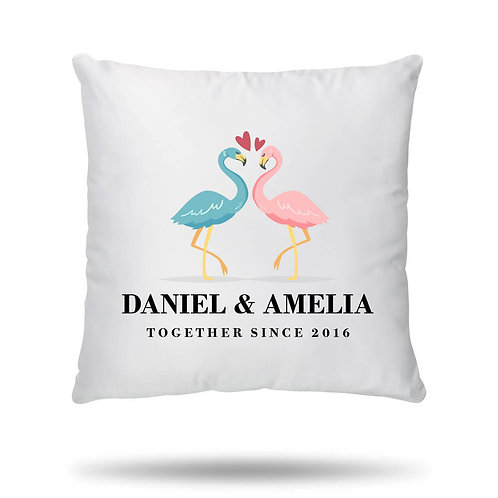 Personalised Cushion Cover Flamingo Love Housewarming Gift