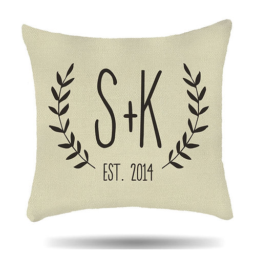 Personalised Linen Cushion Cover Couple Initial with Est. House Warmer Gift