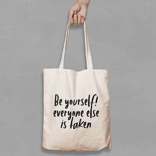 Shopping canvas Tote Bag with Quote - Be your self