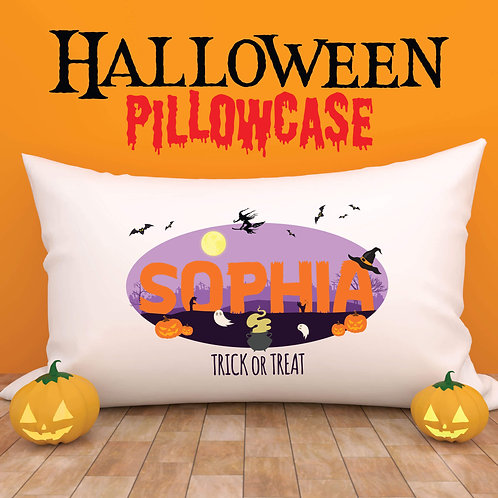 Personalised Pillowcase Kids Halloween Theme