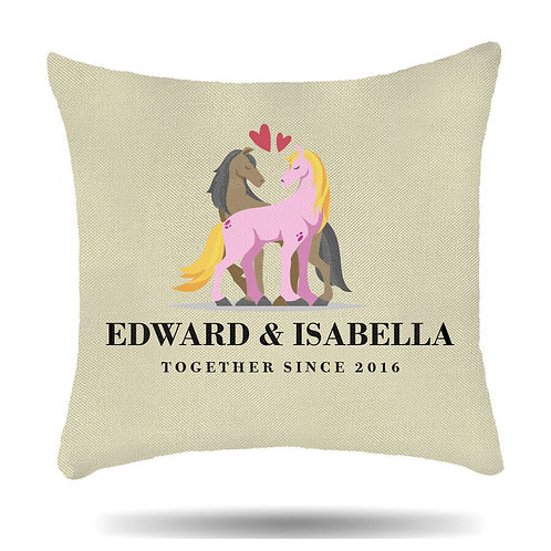Personalised Linen Cushion Cover Horse Love Housewarming Gift