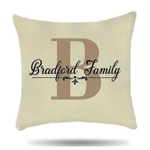 Personalised Linen Cushion Cover Family Initial Housewarming Gift
