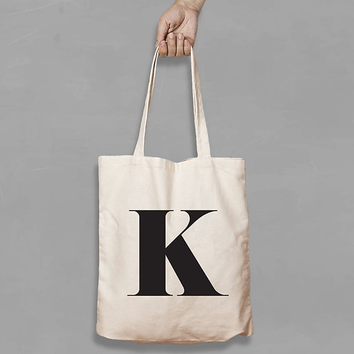 Personalised Shopping canvas Tote Bag Initial with any Letters