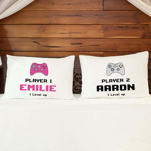 Personalised Pillowcase Pair for Couples Gamer Console Style 4 Design