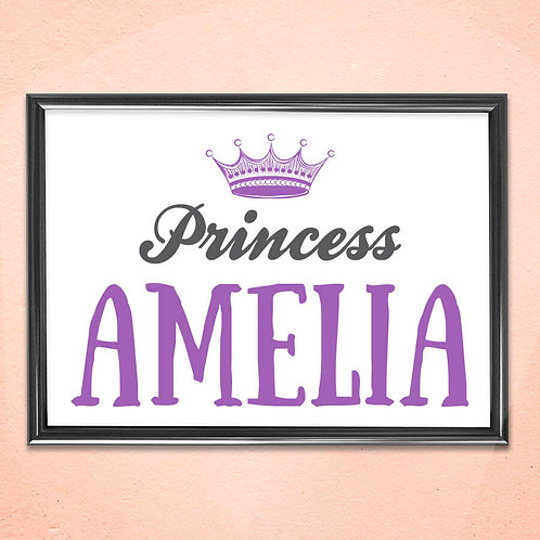 Personalised Print Art Home Wall Decoration Prince or Princess Framed Art