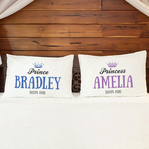 Personalised Pillowcase Pair for Couples Princess Prince