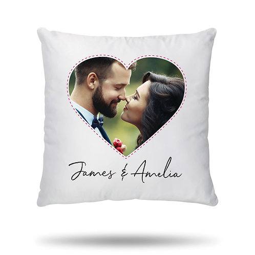 Personalised Cushion Cover Heart Shape Photo Print