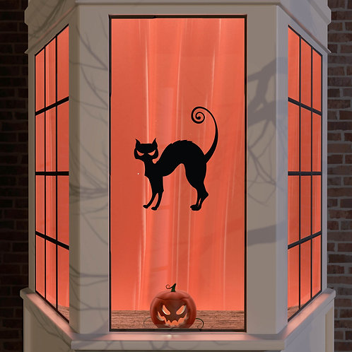 Halloween Window Stickers Decoration Window Wall Spooky Decal Party Black Cat