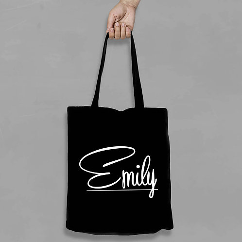 Personalised Shopping canvas Tote Bag Curly Design with any Name