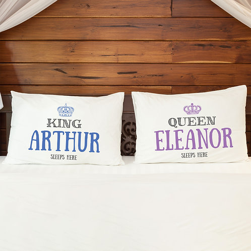 Personalised Pillowcase Pair for Couples King Queen SALE