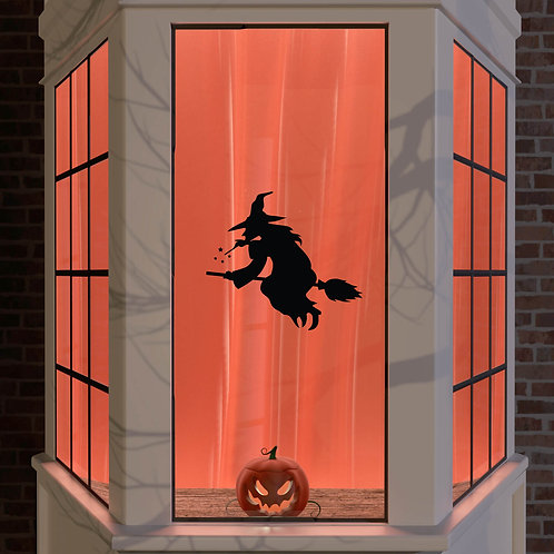 Halloween Window Stickers Decoration Wall Spooky Decal Party Black Wicked Witch