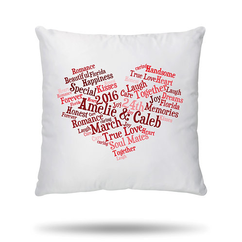 Personalised Cushion Cover Word Cloud Print Heart Shape with 9 Colour Option
