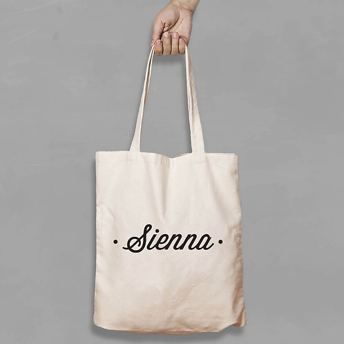 Personalised Shopping canvas Tote Bag Dot Design with any Name