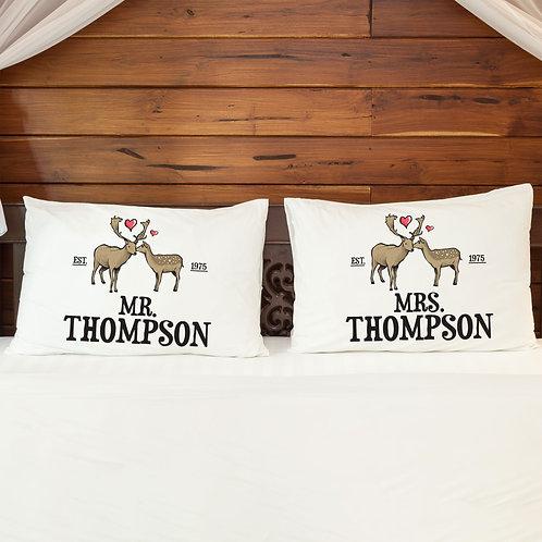 Personalised Pillowcase Pair for Couples Mr & Mrs Deer Love