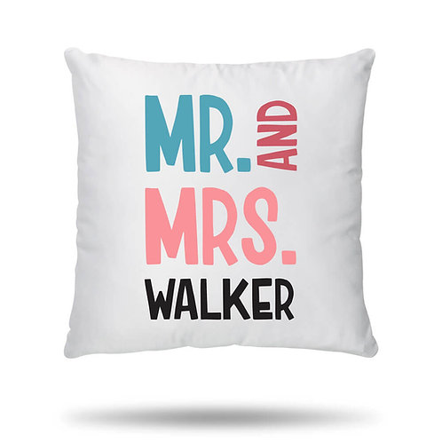 Personalised Cushion Cover Mr and Mrs House Warming Gift