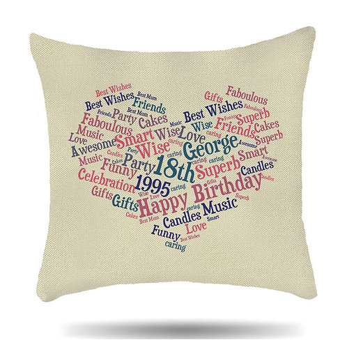 Personalised Linen Cushion Cover Word Cloud Print Heart Shape 9 Colour Option