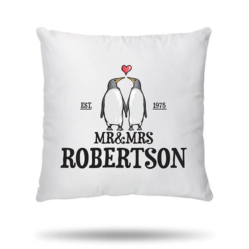 Personalised Cushion Cover Penguin Love Couple Housewarming Gift