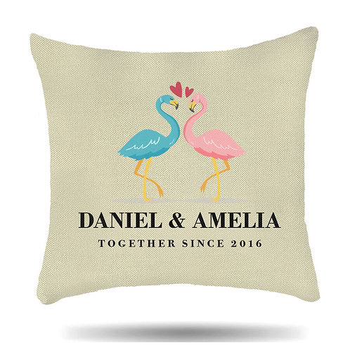 Personalised Linen Cushion Cover Flamingo Love Housewarming Gift