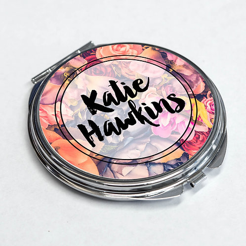 Personalised Compact Round Mirror Flower with any Name  2 Colour Option