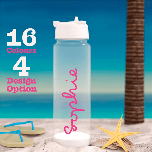 Personalised Love Island Water Bottle Name Sticker 16 colours