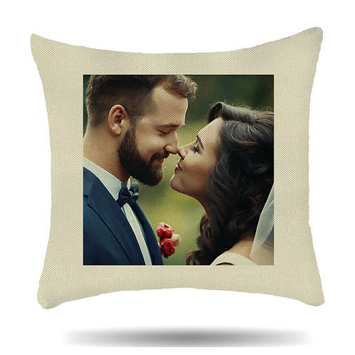 Personalised Linen Cushion Cover Custom Photo House Warmer Gift