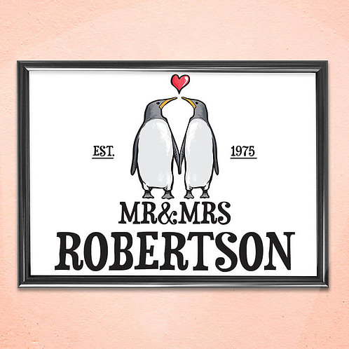 Personalised Print Art Home Wall Decoration Penguin Love Framed Art