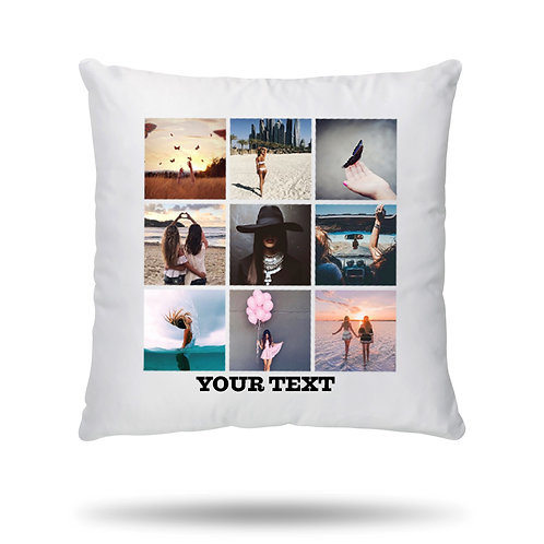 Personalised Cushion Cover Case Up to 9 Photo Collage with Text Option