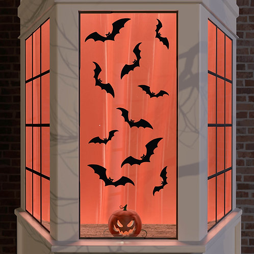 Halloween Window Stickers Decoration Wall Spooky Decal Party Black Kids 10x Bat