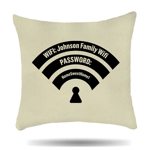 Personalised Linen Cushion Cover Wifi Name and Password House Warming Gift