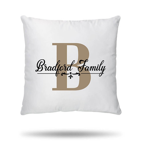 Personalised Cushion Cover Family Initial House Warming Gift