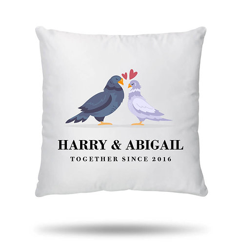 Personalised Cushion Cover Pigeon Love Housewarming Gift