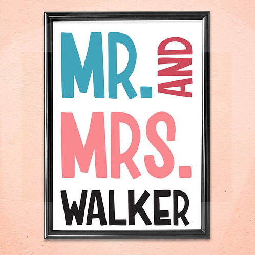 Personalised Print Art Home Wall Decoration Mr and Mrs Framed Art