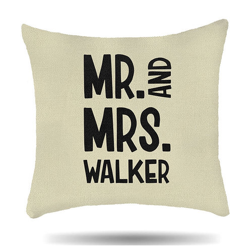Personalised Linen Cushion Cover Mr and Mrs Housewarming Gift