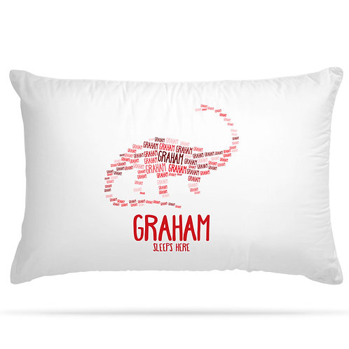 Personalised Pillowcase Kids Dinosaur Word Art for Girls and Boys with 5 Option