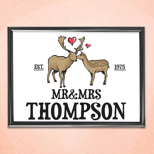 Personalised Print Art Home Wall Decoration Deer Love Framed Art