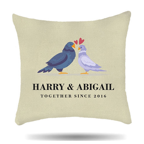 Personalised Linen Cushion Cover for Couples Mr & Mrs Pigeon Love