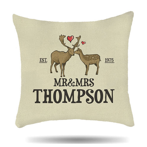 Personalised Linen Cushion Cover for Couples Mr & Mrs Deer Love