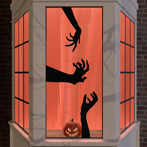 Halloween Window Stickers Decoration Wall Spooky Decal Party Black Zombie Hand