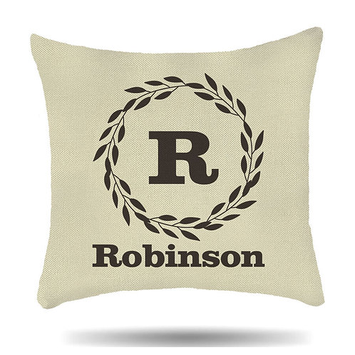 Personalised Linen Cushion Cover Initial Family or any Name House Warmer Gift