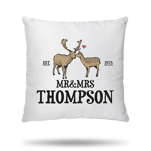 Personalised Cushion Cover Deer Love Couple Housewarming Gift