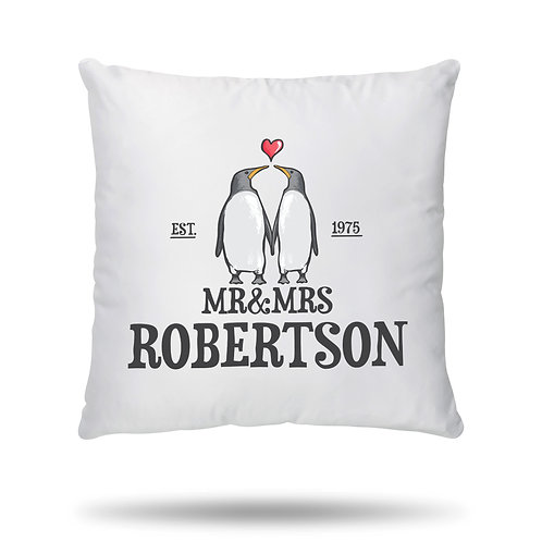 Personalised Cushion Cover for Couples Mr & Mrs Penguin Love