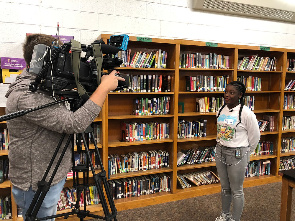 Harding eighth grader speaks to local news media regarding the 10/16/2019 announcement at Harding Middle School.