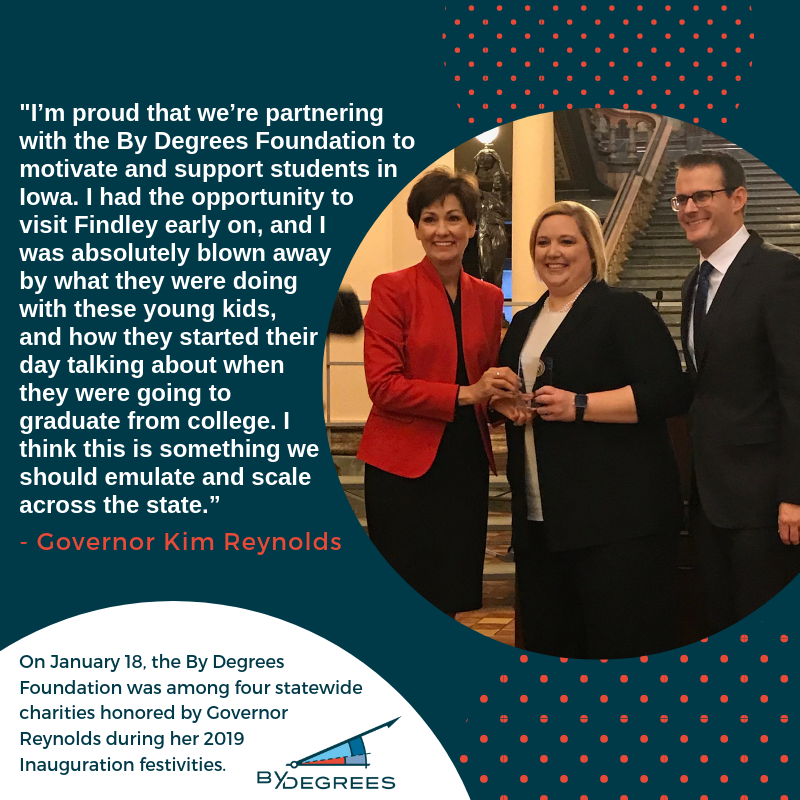 Governor Reynolds and Lieutenant Governor Gregg with By Degrees CEO Emily Westergaard